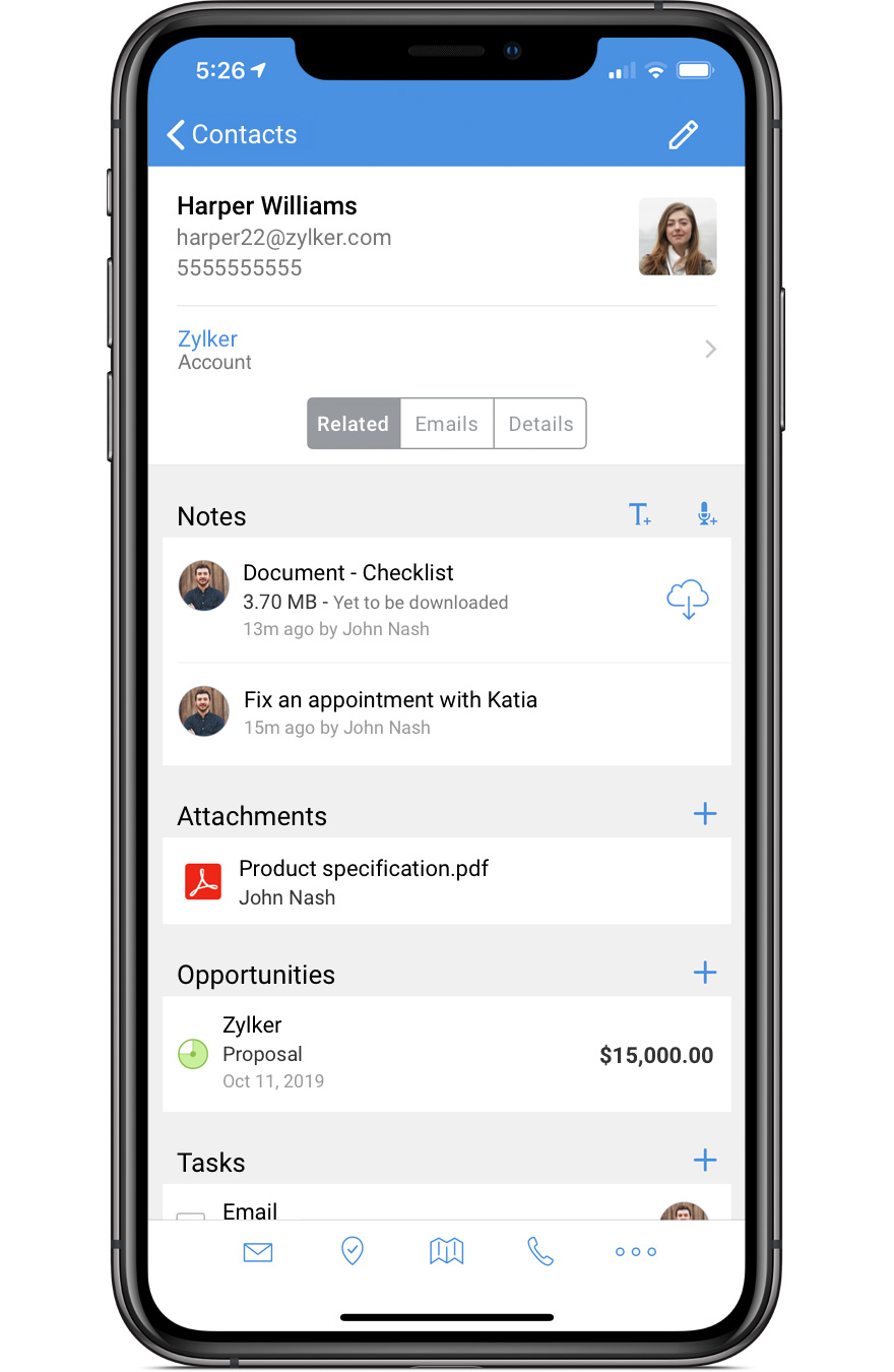 Mobile crm app for android and iOS